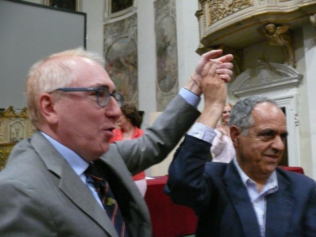 Il rettore uscente Luigi Lacchè e Francesco Adornato