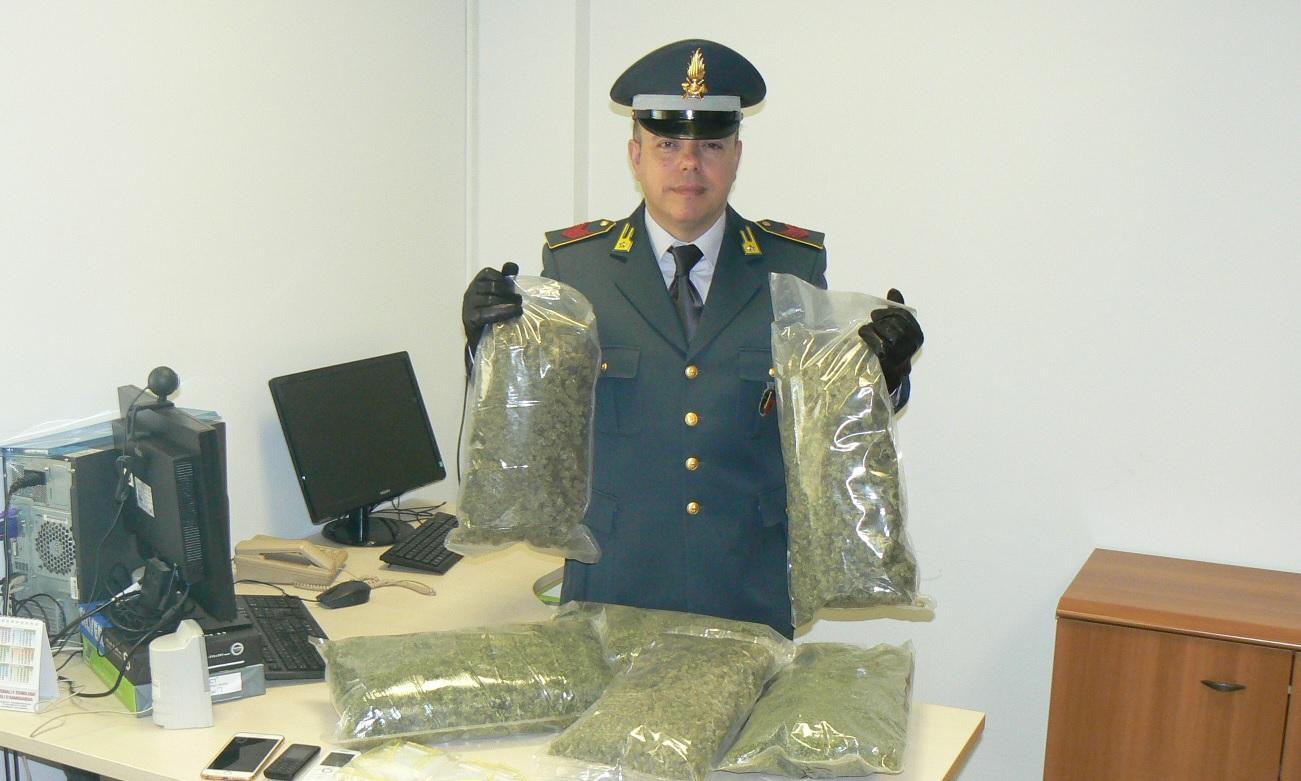 Civitanova Marche, Finanza sequestra oltre 3 kg di marijuana
