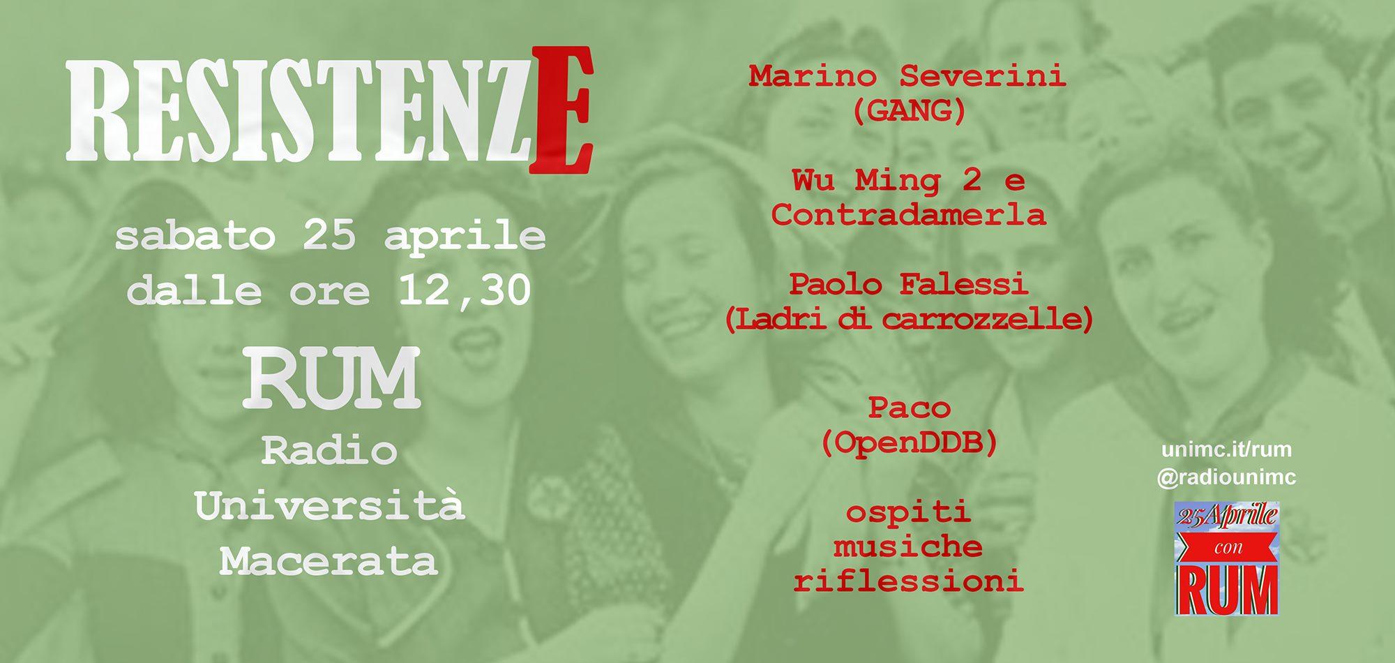 """""""Resistenze"""", il 25 aprile di RUM Radio Università Macerata"""