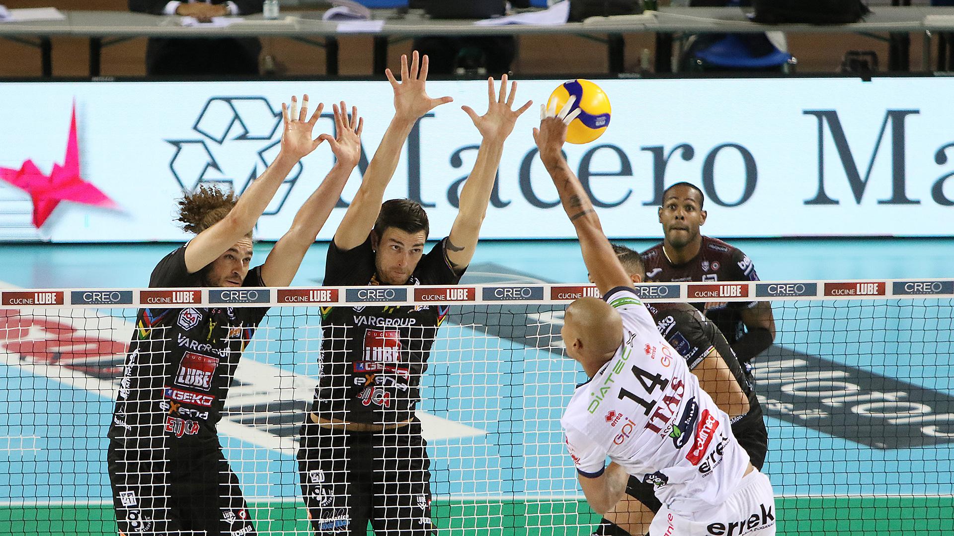 Lube-Itas Trentino 3-0, dominata la super sfida della giornata